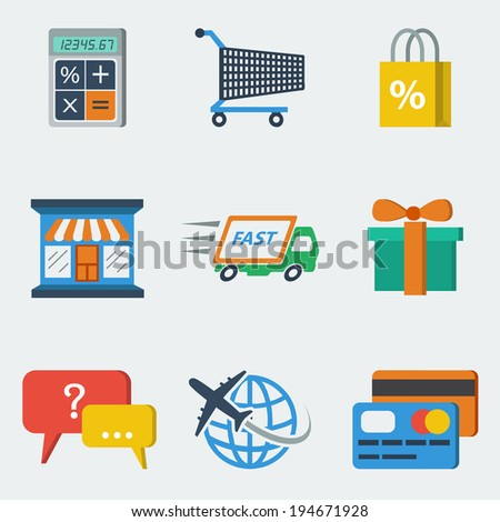 E-commerce internet shopping icons set of calculating packing delivery payment elements vector illustration - stock vector