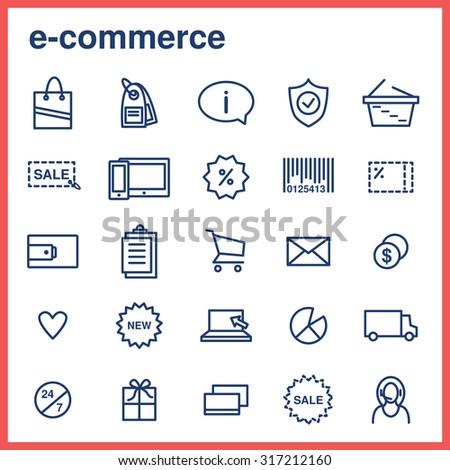 E-commerce. Line flat icons set. - stock vector