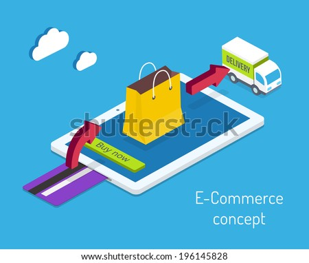 E-commerce or internet shopping concept with a credit card for payment and an arrow pointing to a shopping bag on a tablet computer screen leading to a delivery truck  vector illustration - stock vector
