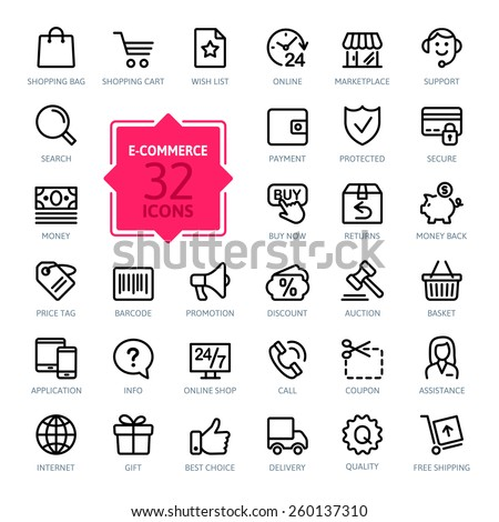 E-commerce. Outline web icons set  - stock vector