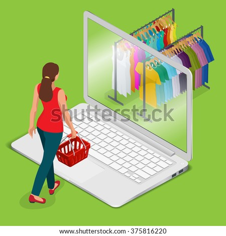 E-commerce, pay on-line and on-line shopping concept. Mobile grocery shopping e-commerce online store flat 3d web isometric illustration for infographic concept vector electronic business sales. - stock vector