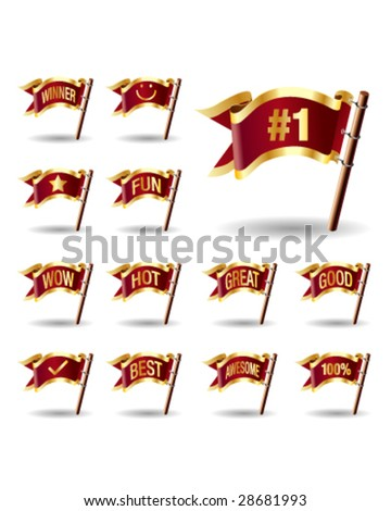 E-commerce promotion and advertising extension icons on royal vector flag design elements for web or print