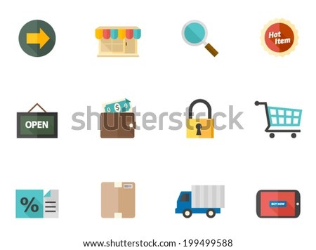 E-commerce related items icon series in flat colors style. - stock vector