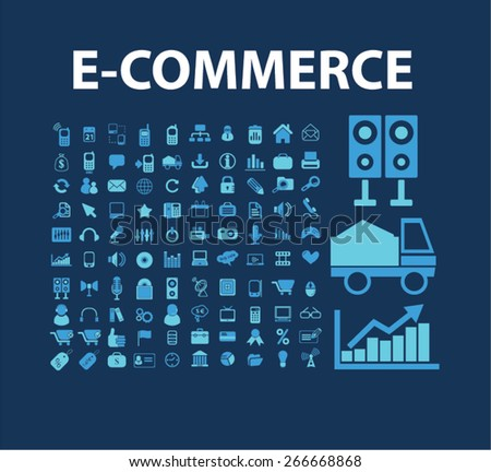 e-commerce, retail, logistics, store, shop isolated icons, signs, illustrations concept website internet design set, vector - stock vector
