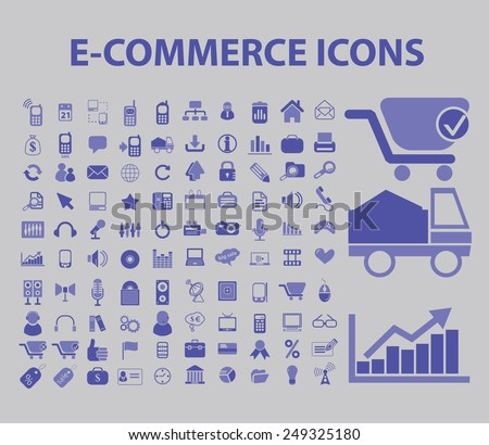 e-commerce, retail, shopping, store, shop, logistics icons, signs, illustrations set, vector - stock vector