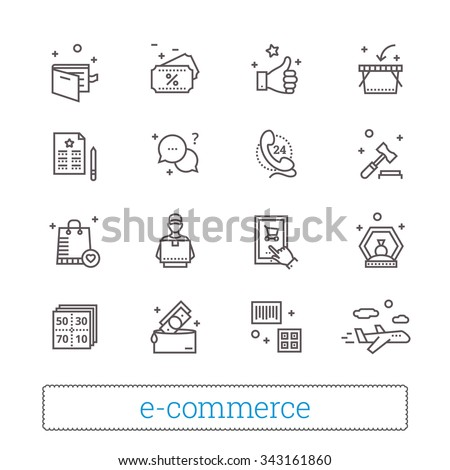 E-commerce, retail, shopping thin line icons. On-line shop, auction gavel, coupons, airmail, courier, goods and money signs. Modern vector design elements. Isolated on white. - stock vector