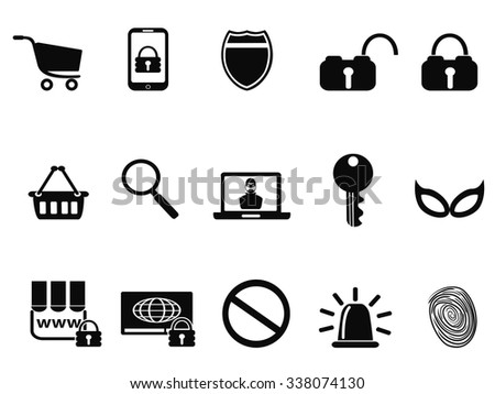 E commerce security icons set - stock vector
