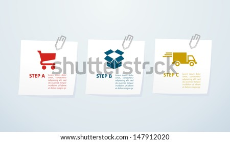 E commerce steps to purchase and delivery goods online. Vector file layered for easy manipulation and custom coloring. - stock vector