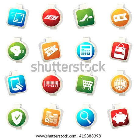 E-commerce stickers label icon set for web sites