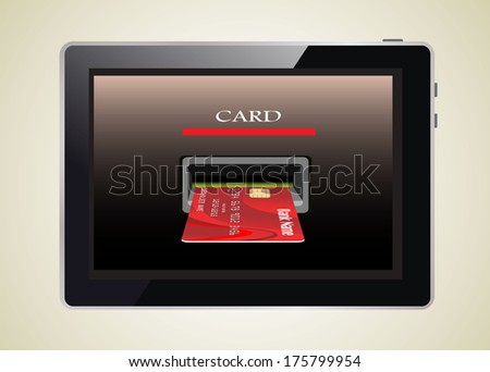 E-commerce. Tablet PC and credit card