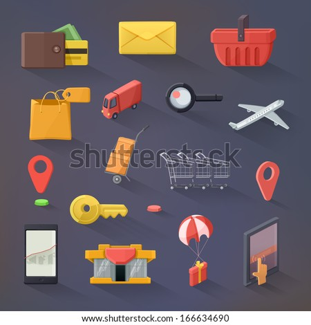 E-commerce vector icon set, flat design - stock vector
