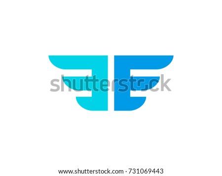 e e letters logo concept wings stock vector 2018 731069443