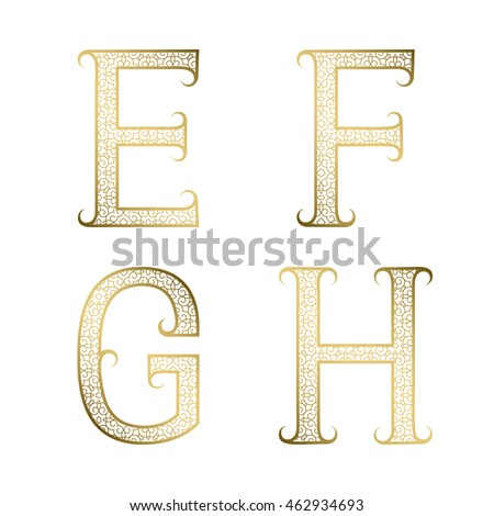 E, F, G, H golden ornamental letters with flourishes. Decorative patterned vintage font.