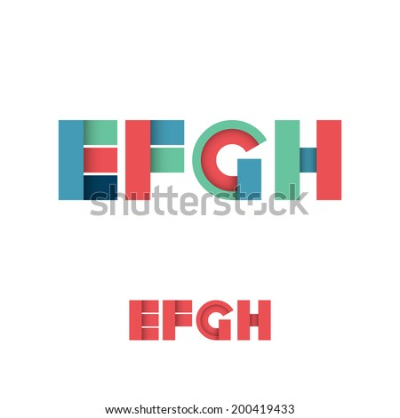 E F G H Modern Colored Layered Font or Alphabet - Vector Illustration