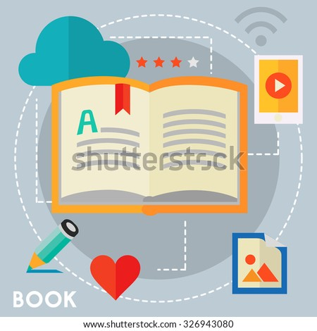 E-ibrary and distance learning concept - stock vector