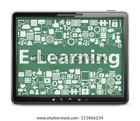 E-Learning concept, tablet computer with different education icons, vector eps10 illustration - stock vector