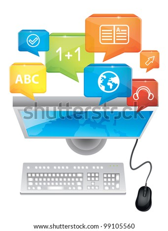 e-learning concept - vector computer and keyboard - stock vector