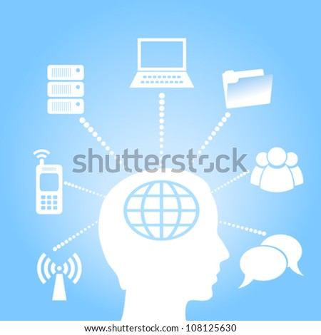 E-learning concept, vector illustration - stock vector