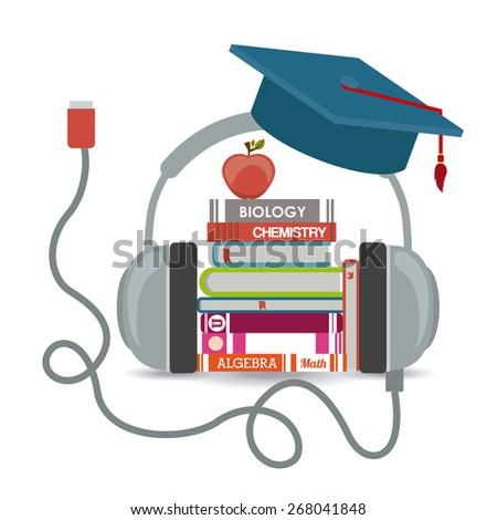 e-learning design over white background, vector illustration - stock vector