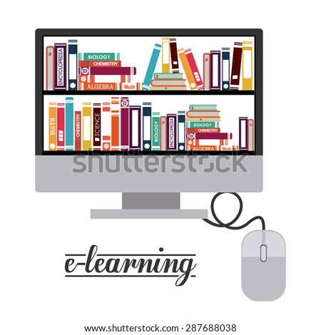 e-learning design over white background, vector illustration - stock vector