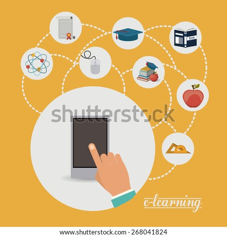 e-learning design over yellow background, vector illustration - stock vector