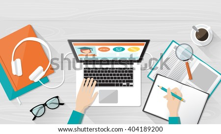 E-learning, education and university banner, student's desktop with laptop, books and hands, top view - stock vector