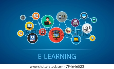 E-learning flat icon concept. Vector illustration. Element template for design.