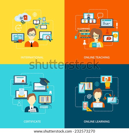 E-learning flat icons set with international online teaching certificate learning vector illustration