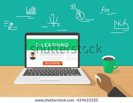 E-learning flat illustration of human hand using laptop for distance elearning studying and education. Man sitting at home and getting started learning educational tutorial on website in laptop screen - stock vector
