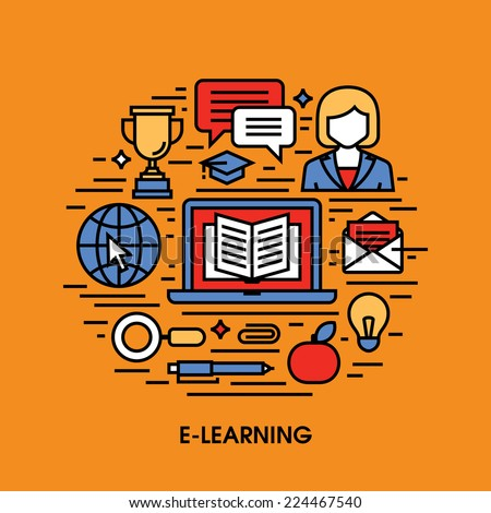 E-learning flat line icons. Creative design elements  - stock vector