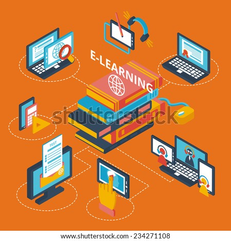 E-learning isometric decorative icons set with laptop tablets and books vector illustration - stock vector