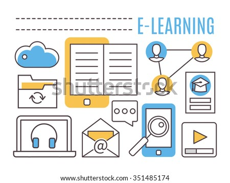 E-learning. Online education. Thin line flat vector icons. - stock vector
