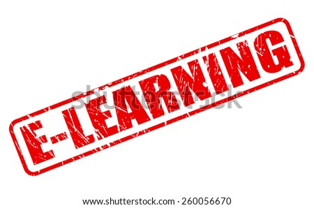 E-learning red stamp text on white - stock vector