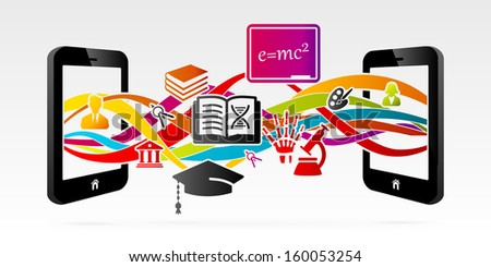 E-learning services using internet connected mobile phone  - stock vector