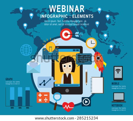 e-learning, Set of webinar icons .online learning, professional lectures in internet. Isolated on backgroundFlat design vector illustration concept. - stock vector