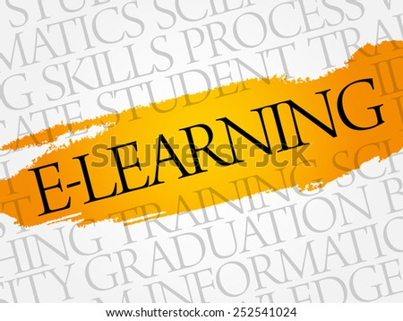 E-LEARNING word cloud, education business concept - stock vector