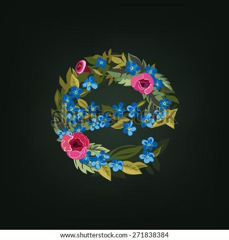 E letter. Flower  alphabet. Colorful font. Lowercase.  Vector illustration. - stock vector