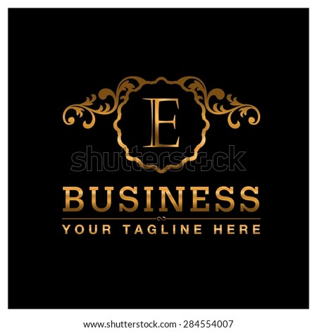 E letter Gold Luxury Logo template flourishes calligraphic elegant ornament lines. Business sign identity for Restaurant, Royalty, Cafe, Hotel, Heraldic, Jewelry, Fashion and other vector illustration