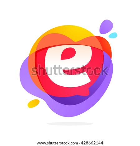 E letter logo with speech bubble and hearts. Vector typeface for communication app icon, corporate identity, card, labels or posters. - stock vector
