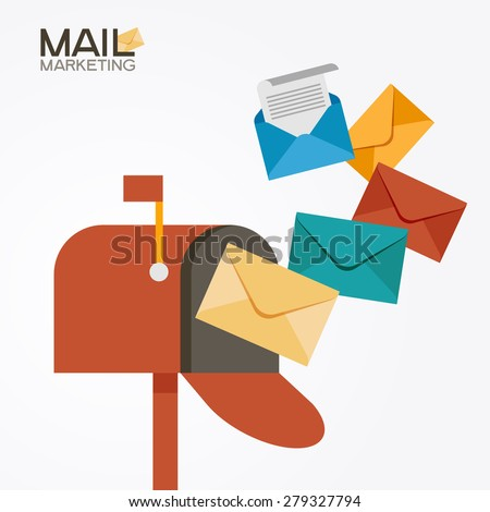 E-mail concept . Marketing e-mail . Mailbox and colored envelopes. File is saved in AI10 EPS version. This illustration contains a transparency  - stock vector