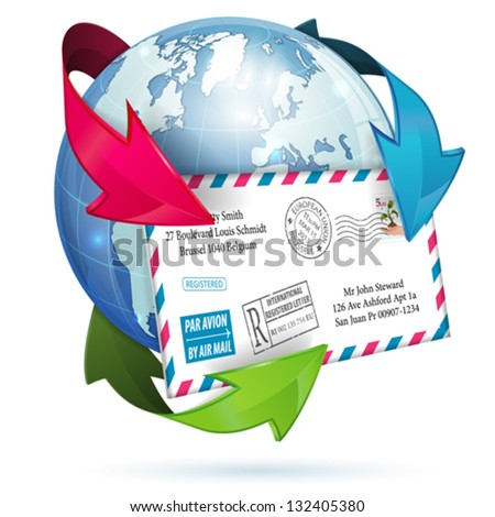 E-Mail Concept with Letter, Earth and Arrows, vector icon isolated on white background - stock vector