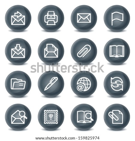 E-mail contour icons on black buttons. - stock vector