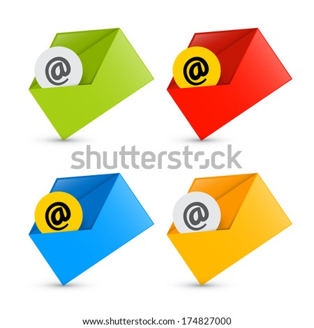 E-mail, Email Icons, Envelope Icons Set Isolated on White Background  - stock vector