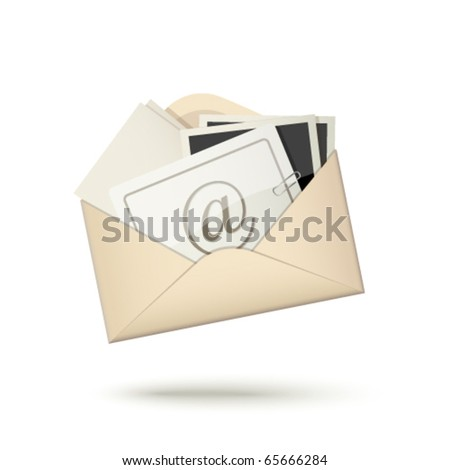 E-mail icon, envelope with letter and photo cards - stock vector