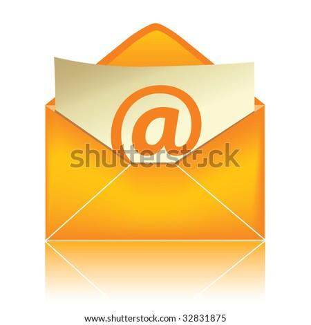 E-mail icon, orange #2 / vector - stock vector