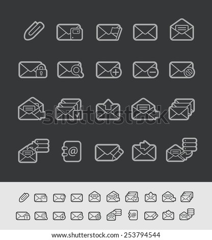 E-mail Icons // Black Line Series -- EPS 10+ Contain Transparencies - stock vector