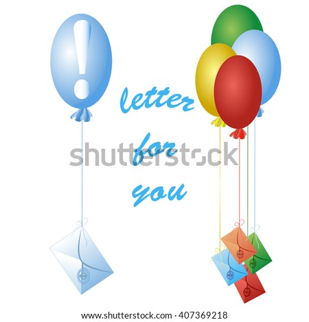 E-mail icons. Icons with paper letters flying on a balloon. Multi-colored envelopes. Mail concept.  Receipt of messages - stock vector