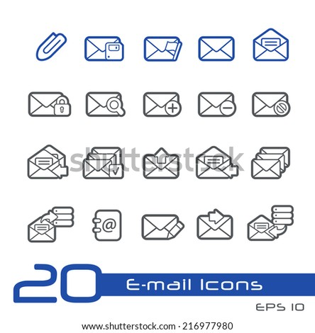 E-mail Icons // Line Series - stock vector