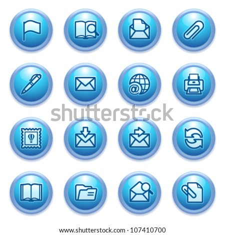 E-mail icons on blue buttons. - stock vector