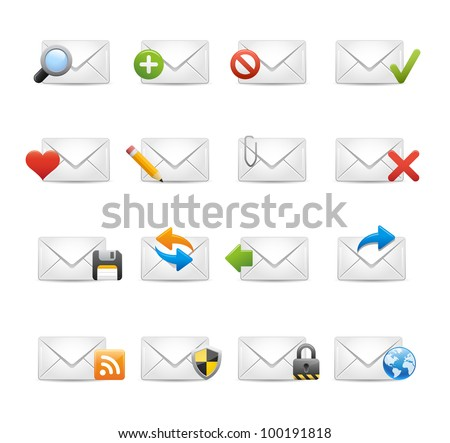 e-mail Icons - Set 1 of 3 // Soft Series - stock vector